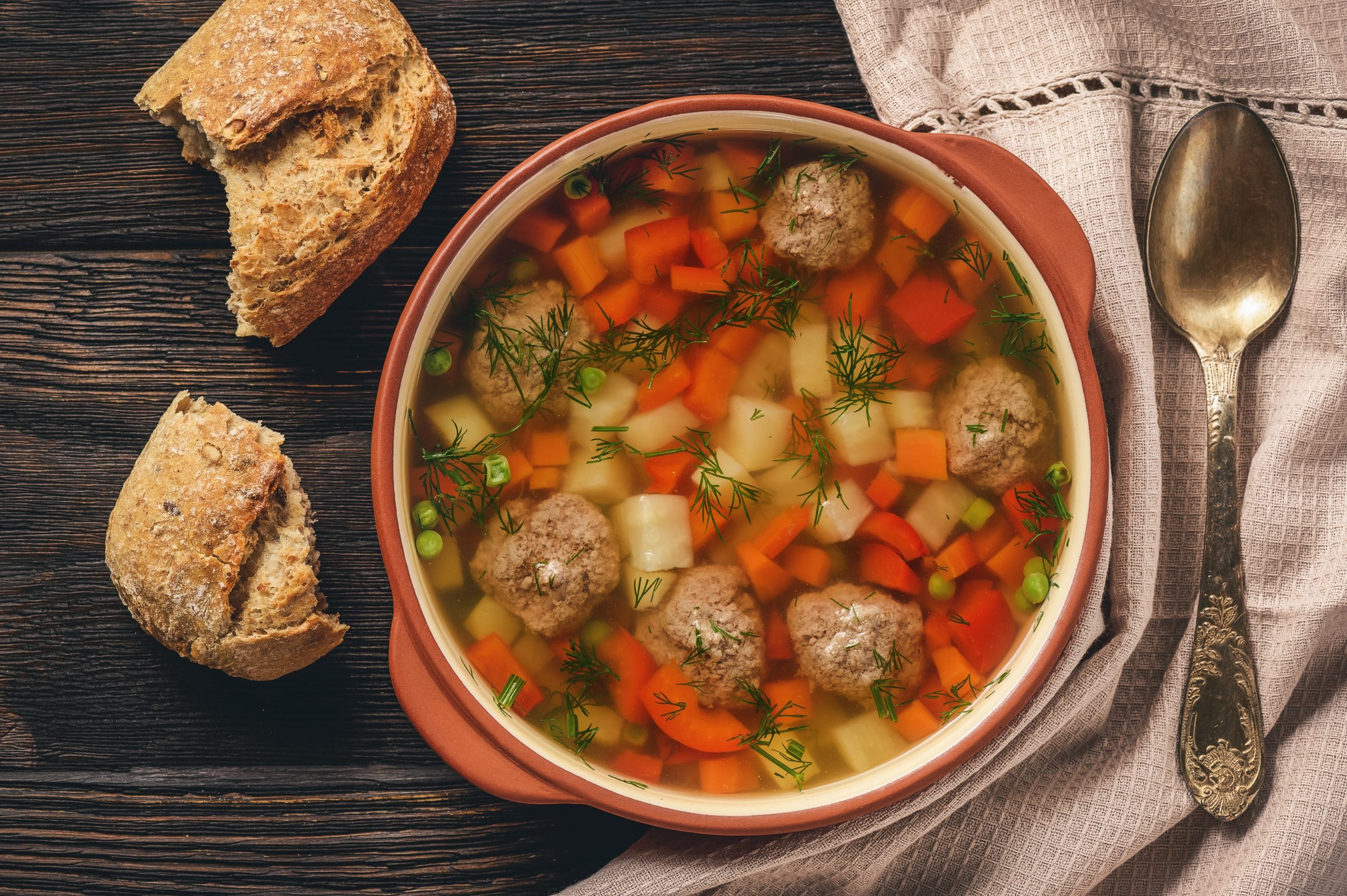 Healthy vegetable soup with meatballs from Susta Foods
